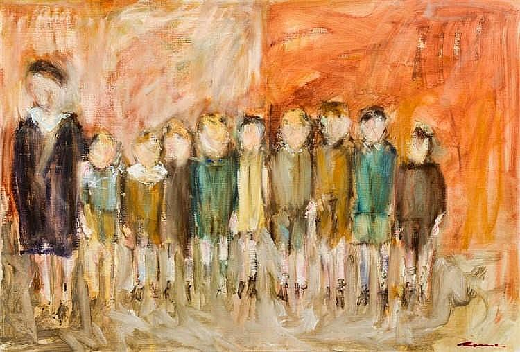 Jo ROME (Horion-Hozémont 1937) La classe  Acrylique sur toile signée e