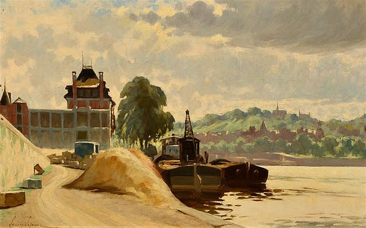 Lucien LEJEUNE (Liège 1870-1953) Le port sur la Meuse  Huile sur carto