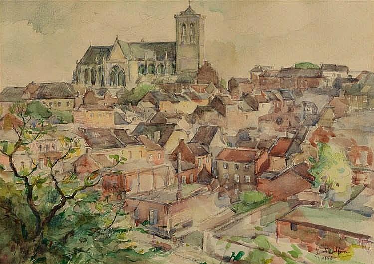 Joseph DELFOSSE (Liège 1888-1970) Vue du Mont Saint-Martin à Liège  Aq