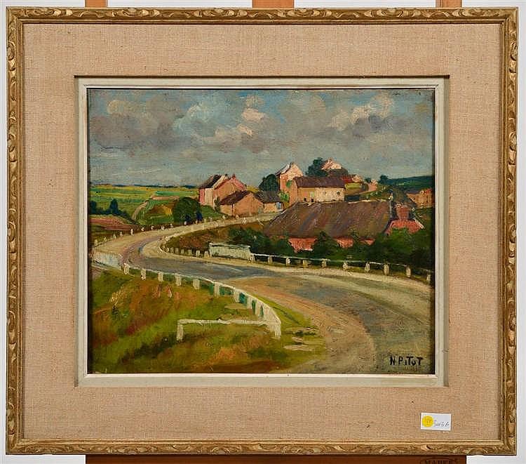 Fr:  une huile sur toile de Nicolas Pitot, village près de Tinlot