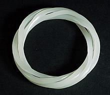 White Jade Twisted Bangle