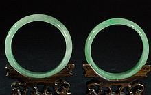 Pair of Chinese Jadeite Bangles