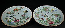 Pair of Qing Chinese Famille Rose Plates