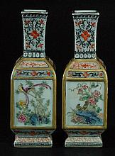 Pair of Chinese Famille Rose Square Form Vases
