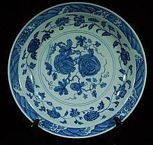 Blue and White Porcelain Charger - Ming