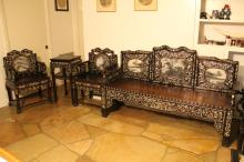 Set of 4 Rosewood Chairs and Side Table w/ Shell