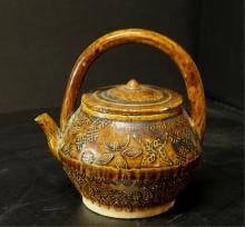 Brown Glazed Pottery Tea Pot