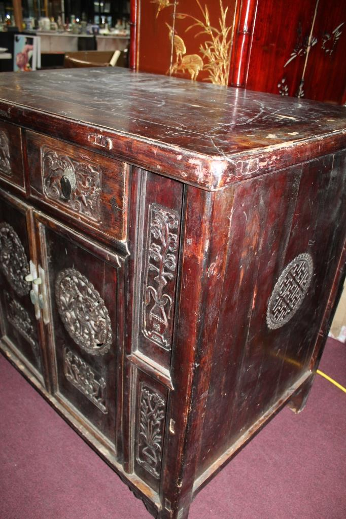 Chinese ornately carved wood chest for Chinese furniture houston tx