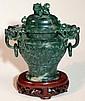 Chinese Highly Carved Green Jade Censer Burner
