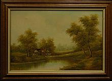 Homestead Oil on Canvas Painting by E. Fisher