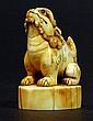 Antique Carved Bone Seal - Fu Dog Handle