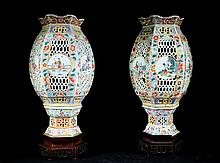 Pair of Qing Dynasty  Famille Rose Light Shades