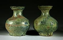 Pair of Chinese  Han Dynasty Antique green Glazed