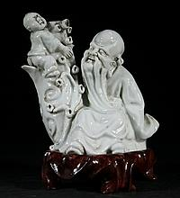 Antique Blanc De Chine Statue - Oldman and Kid