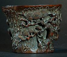 Highly Carved & Detailed Antique Bamboo Cup