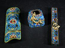 Set of 3 Antique Cloisonne Pieces