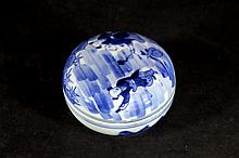 Chinese Blue & White Lidded Ink Box
