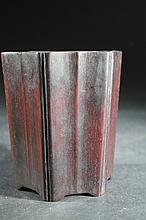 Old Chinese Wood Brush Holder