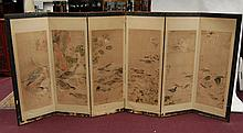 Set of 6 Painting On Screen - Flower & Birds