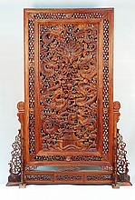 Large Chinese Carved Rosewood Screen
