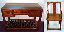 Old Chinese Rosewood Chair and Desk