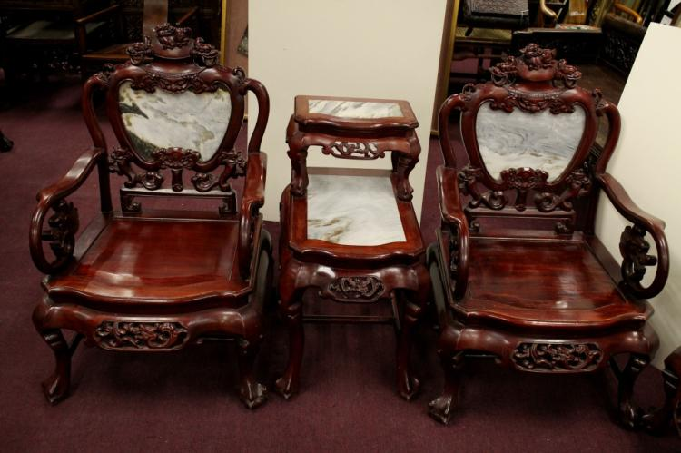 Lot of 7 rosewood furniture for Chinese furniture houston tx