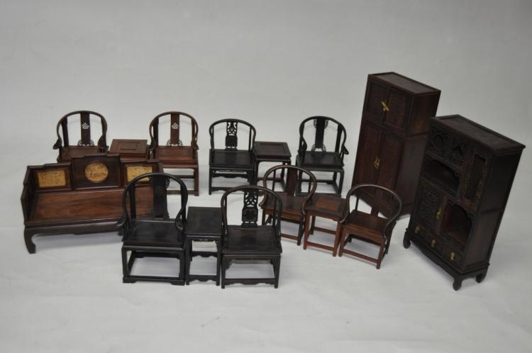 Group of chinese carved rosewood doll furniture for Chinese furniture houston tx
