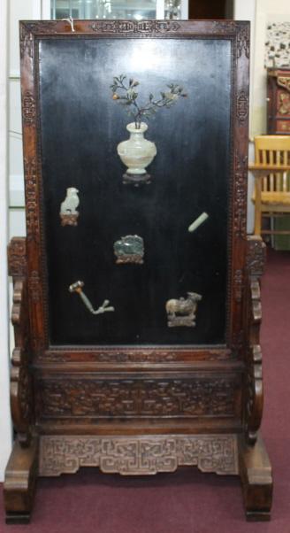 Chinese Hardstone Inlaid Rosewood Panel Screen