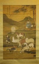 Chinese Scroll  Watercolor Painting-Zhao Meng Fu