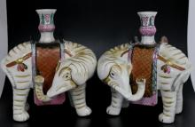 Pair of Chinese Porcelain Elephant Candlestick Hol