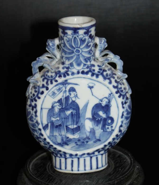 Chinese B&W Moon Flask Vase