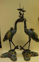 Qing Pair of Cloisonne Cranes