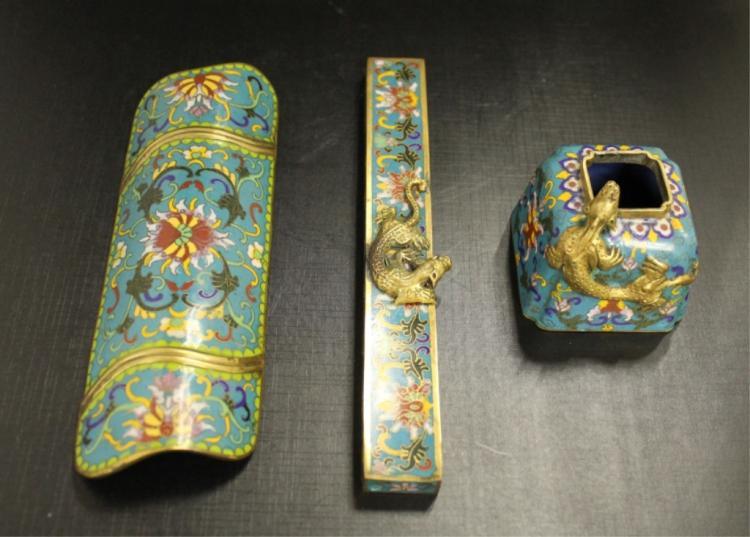 Chinese Cloisonne Deskset