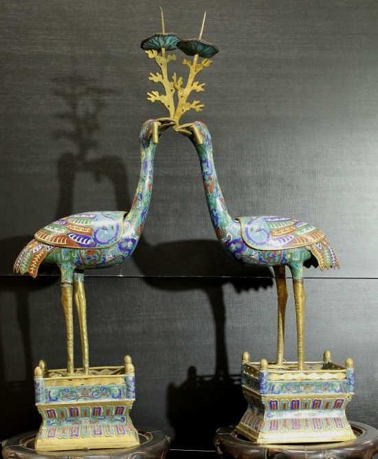 Antique Pair of Life Size Cloisonné Cranes