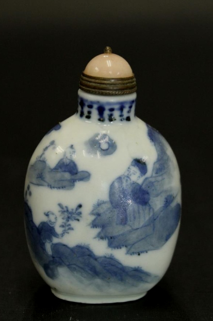Chinese B&W Porcelain Snuff Bottle