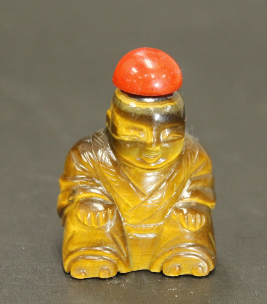Carved Tiger-eye stone Buddha Snuff Bottle