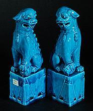 Pair of Blue Glazed Porcelain Lions