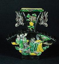 Tri-color Glazed & Embossed Vase