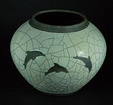 Chinese Crackle Glazed Water Pot