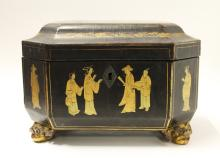 Old Chinese Lacquer Box with Gilt Decorations