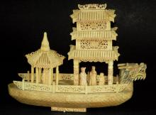 Highly Carved Bone Ship