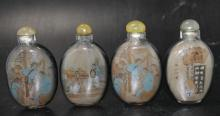 Lot of 4 Reverse Painted Snuff Bottles