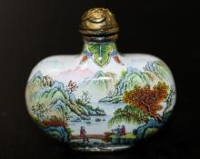 Chinese Enamel over Brass Snuff Bottle
