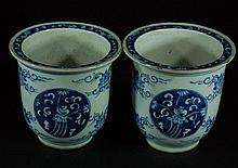 Pair of Chinese Blue & White Planters