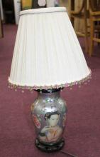 Chinese Painted Lamp w/ Shade