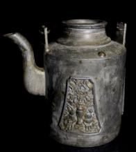 Old Chinese Carved Pewter Teapot