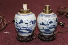 Pair of Chinese B&W Vases as Lamps