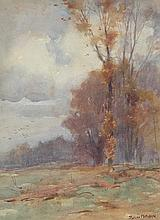 """J. EDGAR MITCHELL (British 1871-1922) A PAIR OF PAINTINGS, """"Autumn"""" and """"Sheep,"""""""