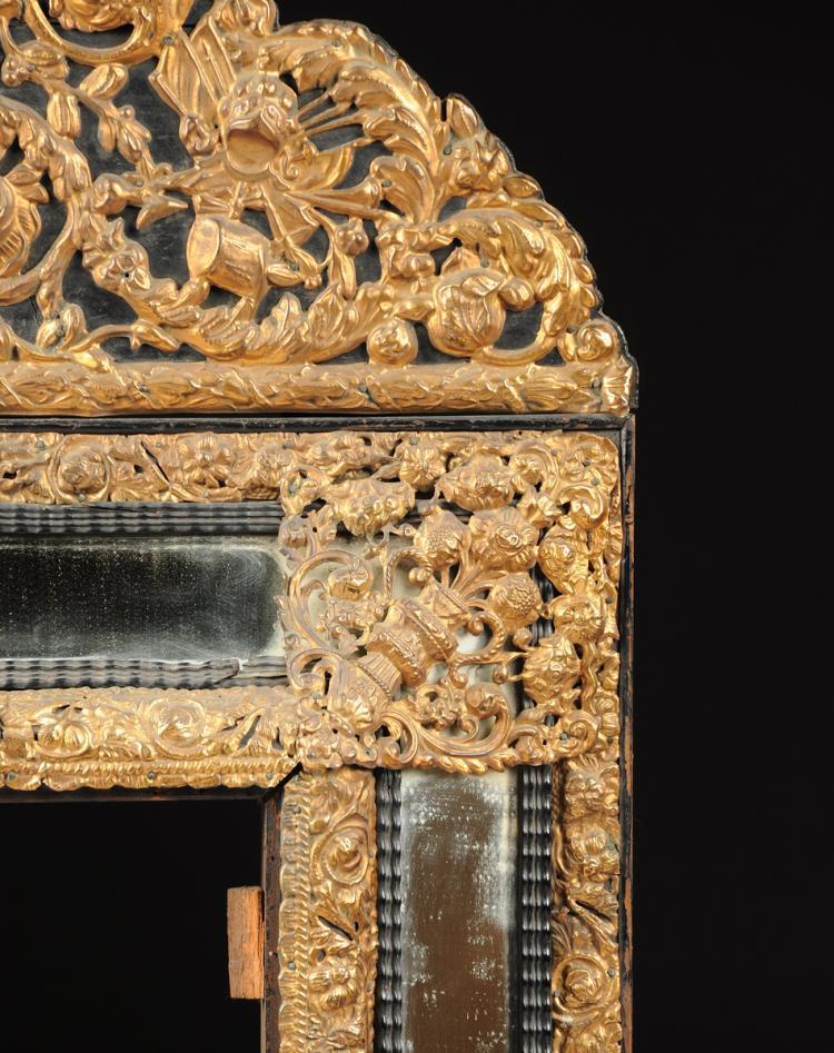 A dutch baroque style gilt metal mounted ebonized wood mirro for Dutch baroque architecture