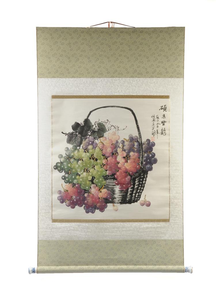 A CHINESE WATERCOLOR ON PAPER PAINTED SCROLL, SIGNED, 20TH CENTURY,
